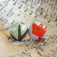 Fabric Button Earrings, Button Earrings, Cute Little Fox, Party Favors, Fun Print, Birthday Gift, Sweet Illustration