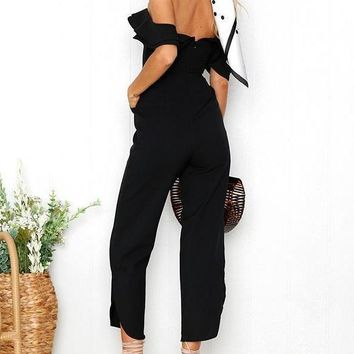 Off Shoulder Ruffled Jumpsuit - Black