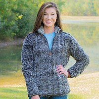 Heathered Quarter Zip Sherpa Pullover in Phantom Grey by The Southern Shirt Co. - FINAL SALE