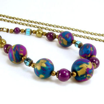 Polymer Clay and Gemstone Beaded Necklace, Violet Purple Turquoise and Gold, Fun Jewelry, Handmade Polymer Clay Jewelry