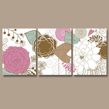 Flower Wall Art Canvas Artwork Pottery Flourish Floral Hot Pink Purple Brown Nursery Set of 3 Prints Decor Bedroom Bedding Bathroom Three