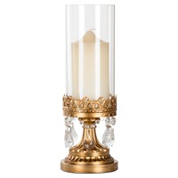12.75 Inch Crystal-Draped Antique Glass Hurricane Candle Holder (Gold)