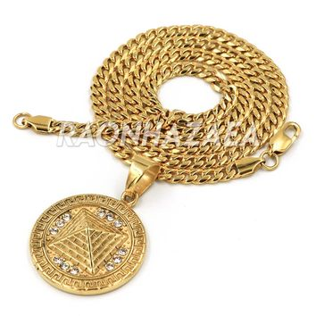 Hip Hop Iced Stainless Steel Gold Medallion 3D Pendant W Cuban Chain