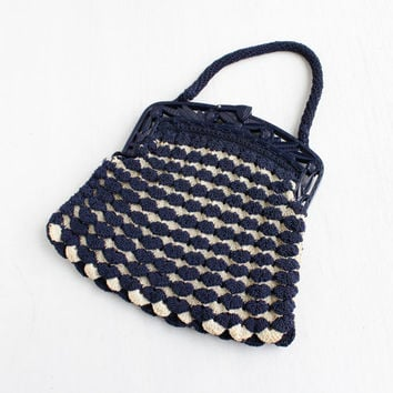 Vintage Blue & White Art Deco Purse- 1930s 1940s Woven Crochet Purse with Early Plastic Floral Frame