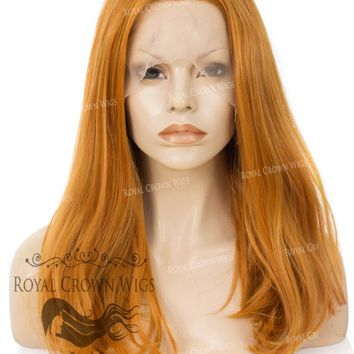 """17"""" Heat Safe Synthetic Lace Front """"Victoria"""" Bob with Straight Texture in Tang Orange"""