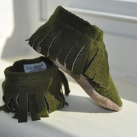 Eco Friendly Suede Moccasins, Soft Sole Shoes for Babies and Toddlers