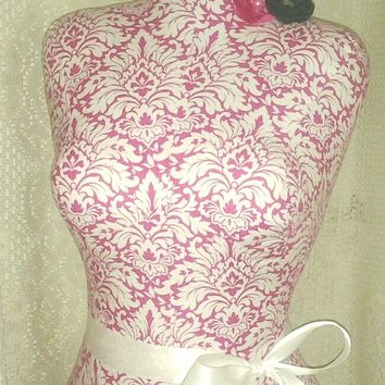 Pink Damask Decorative Dress form life size tabletop designs craft market photo prop jewelry display sewing bust mannequin wholesale welome