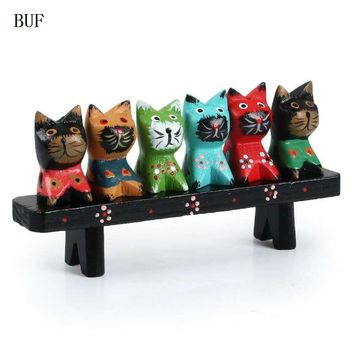Southeast AsiaStyle Wooden 6 pcs Cat With Desk Statue set Creative Handmade Home Decor