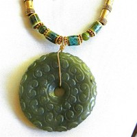 Hand Carved Jade Antique Bi Coin Pendant on Raku Beaded Necklace
