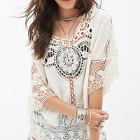 FOREVER 21 Crocheted Woven Top Cream