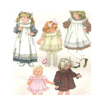 Uncut Vintage 1980's Simplicity Sewing Pattern 7837 Size 2  Toddlers Girls Dress Pinafore in Two Lengths