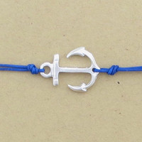 Anchor Bracelet Anklet  Mint Green Cobalt Blue Lime Green You Choose