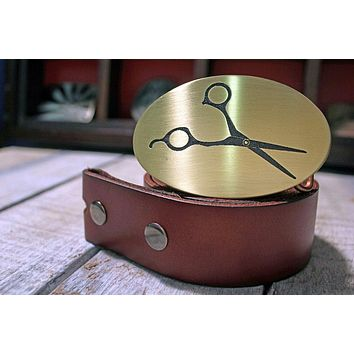 Hairdresser BARBER SHEARS Belt Buckle