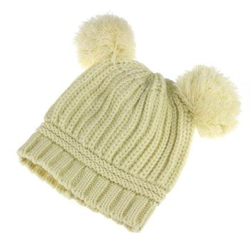 Cute Baby Kids Girl Boy Dual Balls Warm Winter Knitted Cap Hat Beanie BG