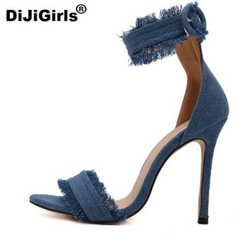 DiJiGirls Pumps Fashion High Heels Shoes Wedding Women Shoes Chaussure Femme Denim High-Heeled Sandals Zapatos Mujer Tacones