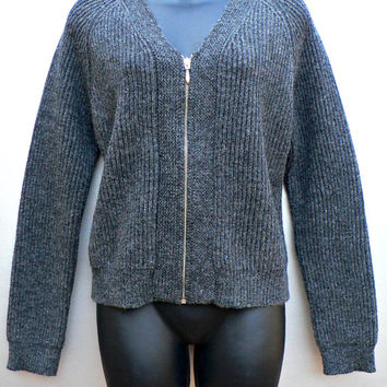 100% Wool Cardigan Sweater - Full Zip Front - Old Navy Clothing Co. - Dark Charcoal Gray - Women's Size Medium (M)