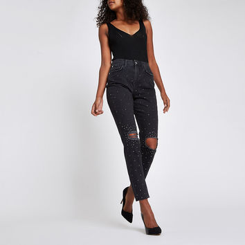 Black Casey embellished ripped slim fit jeans - Straight & Slim Jeans - Jeans - women