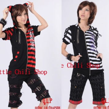 FreeShip PUNK VISUAL KEI EMO Kera CAT HOODIE Stripe Shirt 71211 *2 Colors *