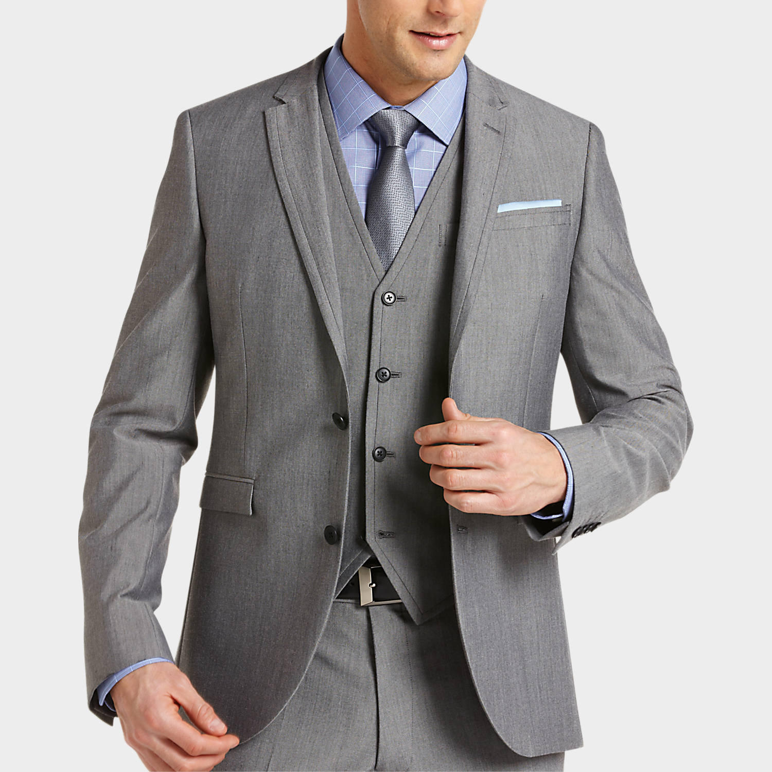 Alta Moda Gray Slim Fit Vested Suit