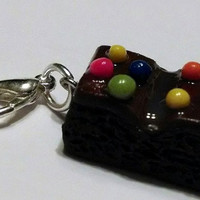 Chocolate Brownie with Sprinkles Charm, Polymer Clay Charm, Food Jewelry