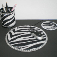 Zebra Print & Bling Computer Desk Set