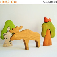 ON SALE Wooden toy Elk Forest Animal toy Pretend play Waldorf nature table Animal figurines Handmade Eco Friendly Baby shower Toys for girls