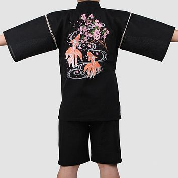 Men Summer Bath robe with shorts Cotton Yukata Kimono Suit Men Japanese Traditional Pajamas set Male Home Loungewear 062507