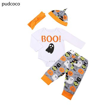 Boo Halloween Baby Kids Clothes Set Baby Boys Girls Long Sleeve Rompers Print Pants Headband Hats Outfits Children Clothing Set