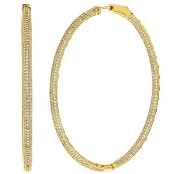 18k Gold Plated Micro Pave Clear CZ Large Oval Endless Hoop Earrings 2.16""