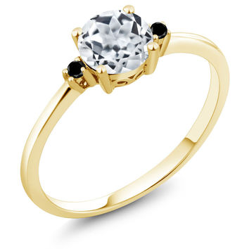 0.93 Ct Round White Topaz Black Diamond 10K Yellow Gold Ring