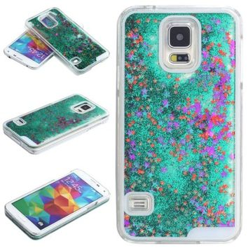 Samsung Galaxy S5 Case-Yerwal Transparent Plastic 3D Glitter Quicksand Stars Liquid Case for Samsung Galaxy S5(Green)