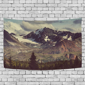 Mountain Landscapes Alaska Tapestry Wall Hanging Snowy Nature Wall Decor Art