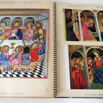 Vintage French, Book Of 95 Reproduction Pictures Of Religious Art Work, From Abbaye D'Encalcat, Dourgne