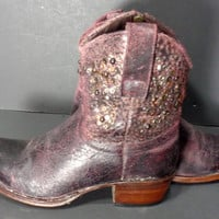 Frye 77861 Deborah Studded Short Purple Leather Western Cowgirl Cowboy Boots Women's Size 6