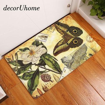 Autumn Fall welcome door mat doormat Vintage Anti-Slip s Waterproof Retro Butterfly Animal Flower Carpet Bedroom Rugs Decorative Stair Mats Home Decor Crafts AT_76_7