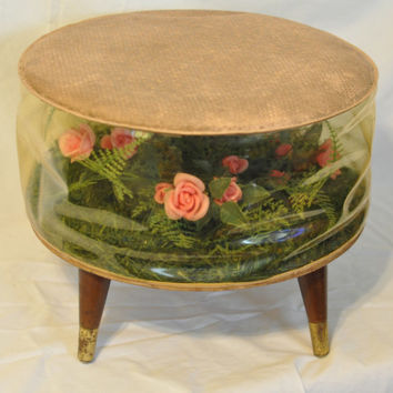 Terrarium Footstool, Floral Vintage Retro 1960s Stool Blow Up Inflatable