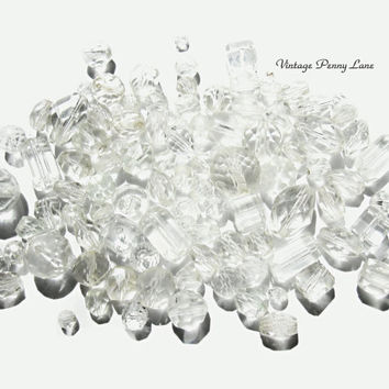 100 Salvaged Beads, Vintage Clear Glass / Crystal Beads
