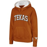 Texas Longhorns Ladies Arched Name Hoodie - Burnt Orange