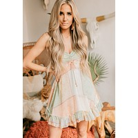 Sally Patched Paisley Dress (Mint/Peach)
