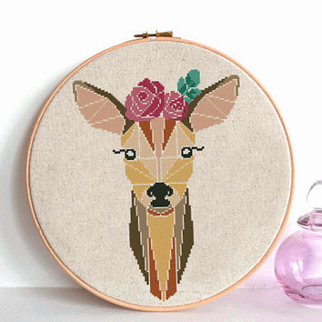 Geometric Wild Deer Cross Stitch pattern, Deer Pattern, Mountain Forest Woodland Animals, Modern Cross Stitch, Animal Cross Stitch flower