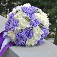 Pugster® PE White And Purple Flower Bridal Wedding Floral Bouquet Heirloom A01