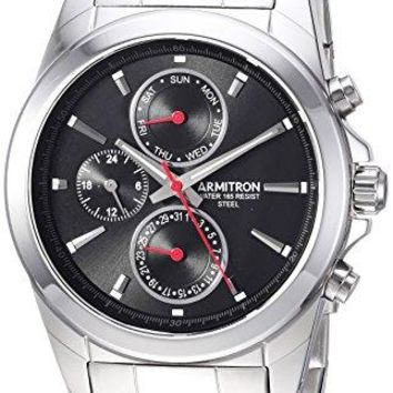 Armitron Men's 20/5250BKSV Multi-Function Dial Silver-Tone Bracelet Watch