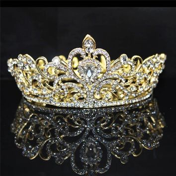 Cool Baroque Vintage Rhinestone Queen King Tiara crown Bride Wedding Headdress Party Banquet Tiaras Crowns hair accessoriesAT_93_12
