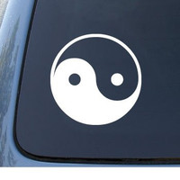 YIN & YANG - Asian - Car, Truck, Notebook, Vinyl Decal Sticker #1040 | Vinyl Color: White