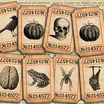 Vintage Halloween Tickets 1 x 2 inch printable digital tickets digital tags instant download