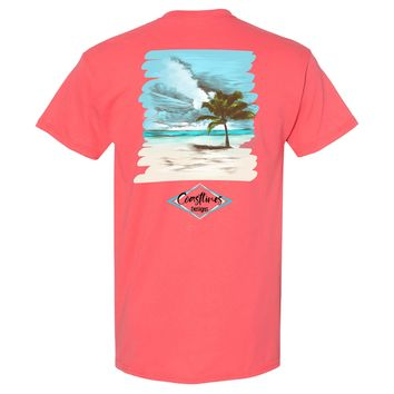 Coastlines Designs Palm Tree on a Beach Beach Van on a Coral T Shirt