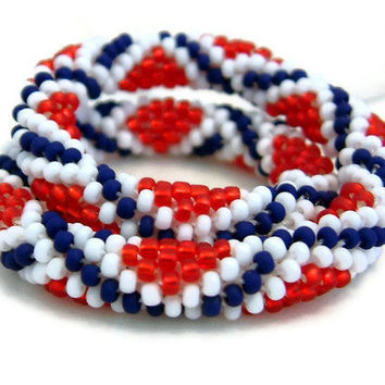 Bead Crochet Bracelet Stars & Stripes Series StarCrossed by lanmom