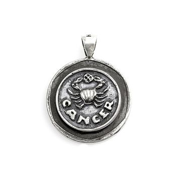 Cancer Zodiac Medallion on an old 10 Sheqel NIS Coin of Israel Necklace