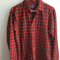 vintage royal stewart tartan red plaid wool pendleton button-down shirt / medium