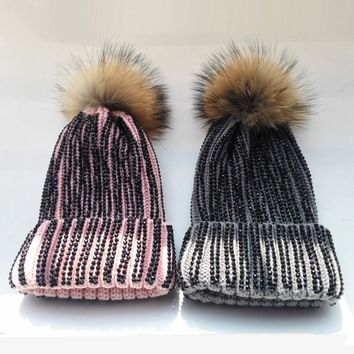 Fashion striped Handmade Black Rhinestone Knitted Hats Rainbow Raccoon Fur Knitting Beanies Skulliies Caps Women's Fur Hats